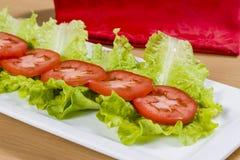 Tomates et feuilles de laitue Photo stock