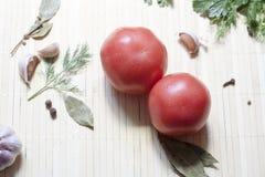 Tomates et herbes Photo libre de droits