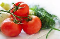 Tomates et herbes sur une nappe Images stock