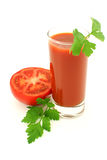 Tomates et jus. Photo stock