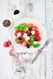 Tomates et mozzarella avec des feuilles de basilic Photographie stock libre de droits