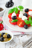 Tomates et mozzarella avec des feuilles de basilic Photo stock