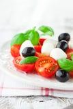 Tomates et mozzarella avec des feuilles de basilic Photo libre de droits