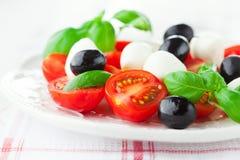 Tomates et mozzarella avec des feuilles de basilic Image libre de droits