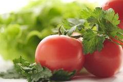 Tomates et persil rouges Images stock