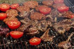 Tomates et viande de barbecue Photos libres de droits