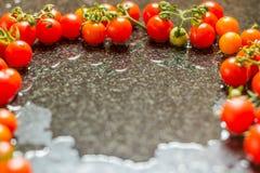 Tomates fraîchement cuites tout préparées photographie stock