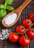 Tomates fraîches avec le basilic et cuillère avec du sel sur le conseil grunge Image stock
