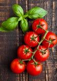 Tomates fraîches avec le basilic sur le conseil en bois Image stock
