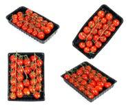 Tomates fraîches dans la boîte d'isolement sur le blanc Photos libres de droits