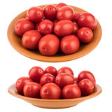 Tomates fraîches de plaque D'isolement sur le fond blanc Photo libre de droits