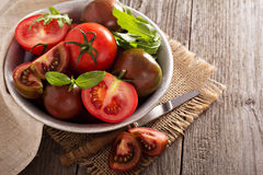 Tomates fraîches mûres dans une cuvette Photo libre de droits