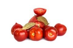 Tomates fraîches sur le fond vert de colza Photo stock