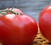 Tomates fraîches sur un tapis de paille Photographie stock libre de droits