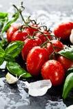 Tomates frescos com alho da manjericão e sal do mar no fundo preto da ardósia fotos de stock royalty free