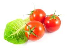 Tomates frescos con la hoja de la ensalada Imagen de archivo libre de regalías