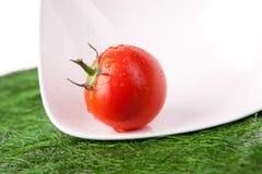 Tomates frescos con la hoja verde Foto de archivo libre de regalías