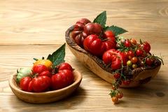 Tomates frescos da herança na tabela de madeira fotografia de stock royalty free