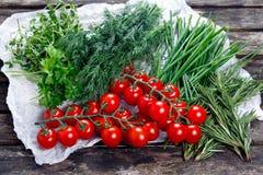 Tomates frescos e vegetais verdes Aneto, alecrins, salsa, cebolinha e tomilho na tabela de madeira velha Foto de Stock