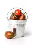Tomates frescos em um balde no fundo branco Imagem de Stock