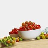 Tomates frescos en cuencos Fotos de archivo libres de regalías