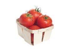 Tomates frescos en la cesta Imágenes de archivo libres de regalías
