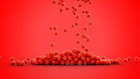Tomates frescos que caem com gotas da água Conceito do alimento isolate rendição 3d Imagem de Stock