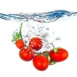 Tomates frescos que caen en agua Fotos de archivo libres de regalías