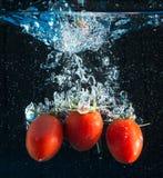 Tomates frescos que caen en agua Imagen de archivo libre de regalías