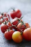 Tomates humides fraîches sur la surface en pierre humide Photographie stock