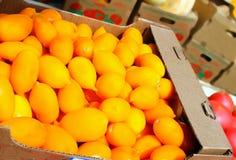 Tomates jaunes, un plan rapproché d'une apparence de stalle du marché Images libres de droits