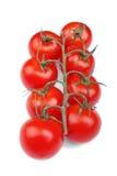 Tomates jugosos aislados en un fondo blanco Tomates rojos brillantes Verduras para las dietas Salud, naturaleza y concepto orgáni Imagenes de archivo