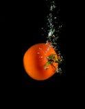 Tomates juteuses tombant dans l'eau Image libre de droits