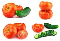 Tomates mûres rouges, concombre Photo libre de droits