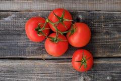 Tomates mûres rouges sur la vue en bois de fond Image stock