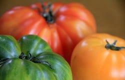 Tomates mûres et juteuses d'héritage Photo stock