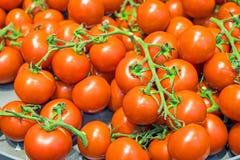 Tomates mûres rouges à vendre Photographie stock libre de droits