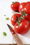 Tomates maduros en fondo ligero Imagen de archivo libre de regalías