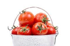 Tomates maduros en un cubo Foto de archivo