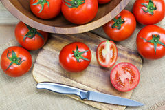 Tomates maduros frescos do close up Imagens de Stock