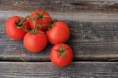 Tomates maduros rojos en la opinión de madera del fondo Imagenes de archivo