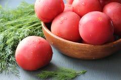 Tomates maduros vermelhos frescos e ervas frescas para a salada Fotos de Stock Royalty Free