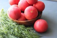 Tomates maduros vermelhos frescos e ervas frescas para a salada Imagens de Stock Royalty Free