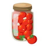 Tomates marinées par bande dessinée d'icône dans la bouteille Images libres de droits