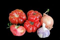 Tomates, oignon, ail Images stock