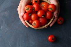 Tomates orgánicos crudos en cuenco Imagen de archivo