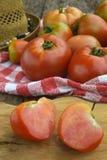 Tomates orgánicos del cultivo Fotografía de archivo