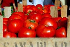 Tomates orgánicos en una parada del mercado imagenes de archivo