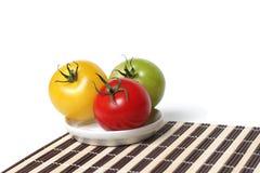 Tomates orgânicos coloridos imagem de stock