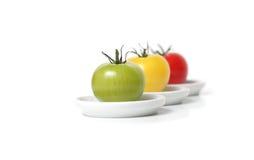 Tomates orgânicos coloridos imagens de stock royalty free